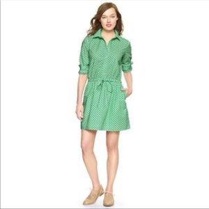 GAP Women's RollSleeve Green Cherry Dress Sz XS